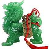 Wenmily Feng Shui Green Pi Yao/Pi Xiu Wealth Porsperity Statue + Free Prosperity Protection Set of 5 Lucky Charm Ancient Coin
