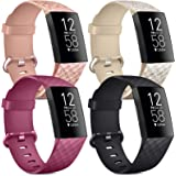 [4 Pack] Soft Silicone Wristbands Compatible with Fitbit Charge 4 Bands, Sports Straps for Fitbit Charge 4 / Charge 3 / SE (G
