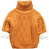 Mornyray Unisex Baby High Neck Thick Sweater Winter Warm Plus Velvet Solid Color Pullover