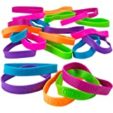 Kicko 24 Rubber Bracelets with Sayings 8 Inches Diameter, Wristband, Assorted Colors - Dream, Love, Courage, Hope, Faith, Str