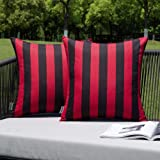 MIULEE Pack of 2 Decorative Outdoor Waterproof Throw Pillow Covers Stripe Square Pillowcases Modern Cushion Cases for Patio C