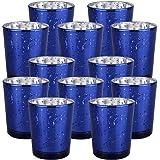 "Just Artifacts Mercury Glass Votive Candle Holder 2.75"" H (12pcs, Speckled Navy Blue) -Mercury Glass Votive Tealight Candle H"