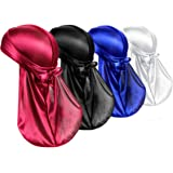 H HOME-MART Silk Durag Caps, 4 Pack Unisex Satin Durags Long Tail Wide Straps Headwraps for Men & Women Pirate Caps Head Wrap