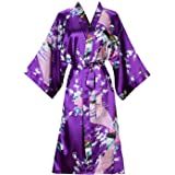 ellenwell Women's Kimono Robe Peacock & Blossoms Satin Nightwear