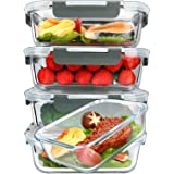 [5-Packs, 36 Oz.] Glass Meal Prep Containers with Lifetime Lasting Snap Locking Lids Glass Food Containers,Airtight Lunch Con