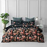 Luxton Black Floral Quilt Cover, Botanical Leaf Flower Quilt Cover Set, Lightweight Soft 1 Duvet Cover 2 Pillowcases (3 Piece