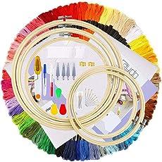 AZAKBL 刺しゅうキット 竹製 初心者に最適 刺繍枠5本 糸100束 針 布