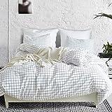 3 Piece Mini Grid Duvet Cover Set Modern Black and White Plaid Checkered Pattern Comforter Cover With Zipper Closure Reversib