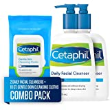 Cetaphil Daily Facial Cleanser for Normal to Oily Skin, Two 16-oz. Bottles, plus 10-ct. Cetaphil Gentle Skin Cleansing Cloths