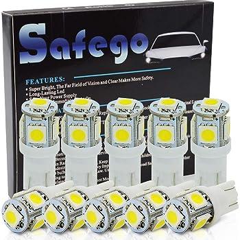 T10 W5W Led 車用 ライト - Safego バルブウエッジタイプ 高品質電球 車内ランプ 194 168 2825 5連 5050 チップ SMD 置換ナンバー灯、クリアランスランプ、高輝度10個入り
