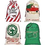 Aoutacc 4 Pack Large Bags Santa Sacks Bag, Reusable Drawstring Canvas Sack Stocking Xmas Gift Bags Large Gift Bag Sack Storag
