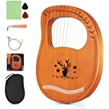 Lyre Harp16 Metal Strings, String Tuning Wrench with Piano Pack, Suitable for Music Lovers, Beginners, Children, Adults
