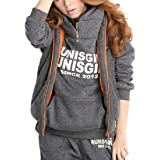 Energy Womens Suede Thickening Hood Big Pockets Jogger Tracksuit Set