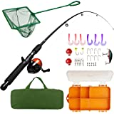Lanaak Kids Fishing Pole and Tackle Box - with Net, Travel Bag, Reel and Beginner's Guide - Rod and Reel Kit for Boys, Girls,
