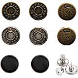 [Upgraded] 8 Sets Button Pins for Jeans, 4 Styles Perfect Fit Jean Button Replacement, Adjustable Jean Button Pins Metal Clip