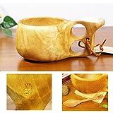 北欧フィンランド木製 本物ククサ Kuksa Koivumaa(コイヴマー)190cc ツノ飾り 白樺のコブ使用 説明書 箱包装 木製ヴィンテージスプーン付き