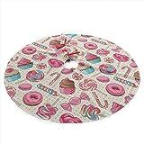 Colorful Sweet Lollipop Candy Macaroon Ceanake Donut Christmas Tree Skirt Merry Christmas Tree,Tree Skirt for Xmas Decor Fest