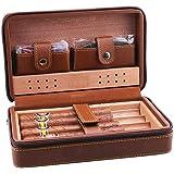 Cigar Case,Cigar Humidor, Cigar Accessories Portable Cigar Box Travel Set for 4, Leather Cork Cigar Moisturizing Cigarette Ca