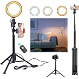 Rimposky 16 cm Selfie Ring Light with Tripod & Cell Phone Holder, Dimmable Led Camera Ringlight with Tripod Stand for Live St