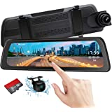 "Mirror Dash Cam Backup Camera 9.88"" Full HD Touch Screen Car Dash Camera Stream Media Dual Lens 170° 1080P Front and 150°1080"