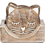 Nirvana Class Wooden Crafted Unique Adorable Cat Shaped Coasters Set of 6 with Holder, Bar Dining Table Home Decor