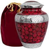 Celebration of Life Red Adult Cremation Urn for Human Ashes - Share Your Special Love with This Large Classic Comforting Urn