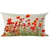 ramirar Ink Painting Watercolor Beautiful Red Orange Poppy Flowers Decorative Lumbar Throw Pillow Cover Case Cushion Home Liv