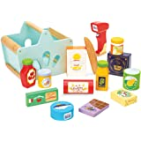 Le Toy Van TV326 - Wooden Groceries Toy Play Set & Wooden Scanner For Shopping Role Play | Supermarket Pretend Play Shop With