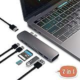 USB TYPE-C マルチハブ MacBook Pro (2016-17)ハブ13 15 専用 Thunderbolt3 PD充電 HDMI USB3.0 x2 SD MicroSD 超軽アルミ合金