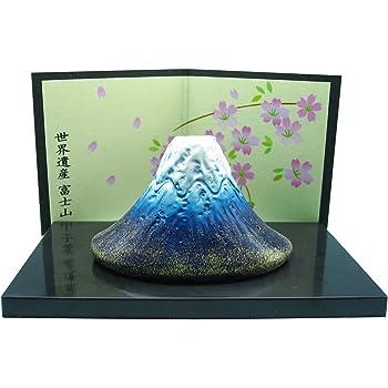 萬古焼 富士山 置物 紺 14516