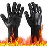 H HOME-MART 1 Pair BBQ Grill Gloves, 800 ℃ / 1432 ℉ Extreme Heat Resistant Oven Mitts,Oven Gloves with Fingers,Kitchen Gloves