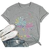 EGELEXY Dog Mom T Shirt Women Cute Dog Paw Dandelion Print Tops Tees Casual Short Sleeve Vacation Shirts Tops