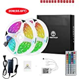 WenTop Led Strip Lights Kit 65.5ft(20M) 5050 SMD RGB Flexible LED Tape Lights Non-Waterproof with DC24V UL Power Supply 44Key