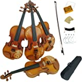 Aliyes Solid Wood Violins Full Size 4/4 Violin Kit For Beginners With Case,Shoulder Rest,Bow,Rosin,Extra Bridge And Strings(D