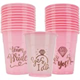 """Bachelorette Party Cups - Bridal Shower Decorations - Mega Party Pack of""""Team Bride"""", She Said Yes"""" Pink and Gold Cups for We"""