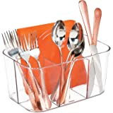 mDesign Plastic Cutlery Storage Organizer Caddy Bin - Tote with Handle - Kitchen Cabinet or Pantry - Basket Organizer for For