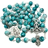 Nazareth Store Catholic Green Glass Beads Rosary Necklace Miraculous Medal & Cross - Velvet Bag