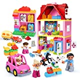 St. Lun 78 PCs Big Size Building Blocks Compatible Lego Duplo Building Villa Toys Princess House Study For Kids