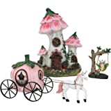 LA JOLIE MUSE Resin Fairy Garden - Miniature Floral Roof Cottage with Solar LED Lights, Fairy House Figurine Set of 3 with Pu