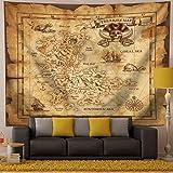 QCWN Treasure Map Tapestry Wall Hanging,Island Map Super Detailed Treasure Map Pirates Gold Secret Sea History Theme, Wall Ha