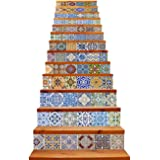 """TUOKING 13 Strips Removable Stair Decals, Peel and Stick Vinyl Staircase Stickers, 39.37"""" L x 7.08"""" W for 13 Steps, Ceramic T"""