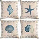 7COLORROOM 4Pack Vintage Sea Theme Pillow Covers Coastal Beach with Couch &Starfish& Shell Cushion Cover Navigation Sailing C