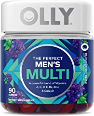 OLLY Perfect Men's Gummy Multivitamins with Vitamin C, A, D, E, B, Zinc, 45 Day Supply, 90 count,858158005022,90 Count (Pack