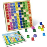 TOMMYHOME Wooden Math Cube Abacus for Kids with Multiplication Table,numberblocks Toys in Multiplication Board