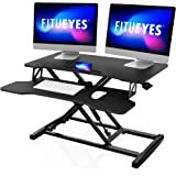 "FITUEYES Height Adjustable Standing Desk 32"" Wide Sit to Stand Converter Stand Up Desk Tabletop Workstation for Dual Monitor"