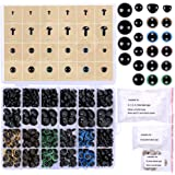 348 Pcs 6-20mm Black Plastic Safety Eyes Colorful Plastic Safety Eyes Craft Eyes and Safety Noses with Washers for Doll Puppe