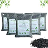 Air Purifying Bags Activated Bamboo Charcoal Bags for Home, Car, Closet, Bathroom, Basement, Litter Box, Shoe (5 Pack, 200g E