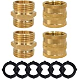 Hourleey Garden Hose Adapter, 3/4 Inch Solid Brass Connector, Male to Male, Female to Female, 4-Pack with Extra 4 Washers