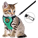 AWOOF Kitten Harness and Leash Escape Proof, Adjustable Cat Puppy Walking Jacket with Metal Leash Ring, Soft Breathable Small