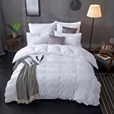 Lausonhouse 100% Cotton Woven Seersucker Stripe Duvet Cover Set - Queen - White